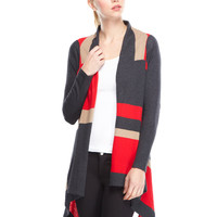 P. LUCA Red Open Stripe Cardigan