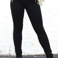 Skinny Pants with Side Zipper Detail (P1025)
