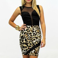 Leopard Print Pencil Skirt (VS135)