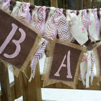Shabby Chic Baby Rag Garland Rustic Decor Baby Photo Prop Baby Shower Decor Childrens Room Decor