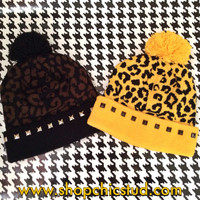 Studded Pom Pom Beanie - Black or Gold Leopard Print Beanie Hat - Gold, Silver, or Black Studs