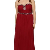 Plus Size Strapless Long Dress with Stone Neckline with Keyhole Cutout