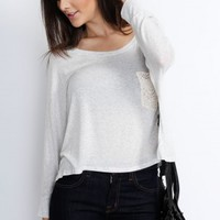 Gray Crop Lace Pocket Long Sleeve