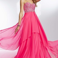 Long Strapless Chiffon Empire Waist Gown