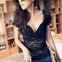 Bustier Detail Lace Top Korean Fashion