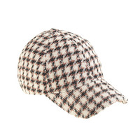 HOUNDSTOOTH BASEBALL CAP IN BEIGE