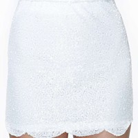 Scalloped Sequin Skirt - White