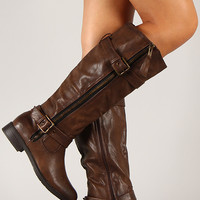 Pita-18 Zipper Buckle Riding Knee High Boot