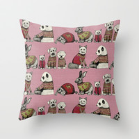 vintage chums pink Throw Pillow by Sharon Turner