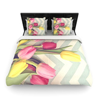"Catherine McDonald ""Tulips and Chevrons"" Woven Duvet Cover 