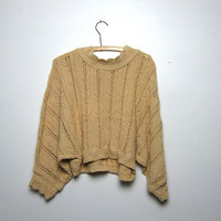 vintage cropped sweater. yellow sweater. open knit sweater top.