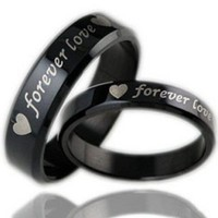 "Geminis New Fashion Black ""Forever Love"" 316 L Stainless Steel Wedding Band Anniversary/engagement/promise/couple Ring Best Gift!"