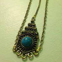 Bohemian Headpiece Gold Chain Turquoise Medallion Tribal Boho Boho Chic