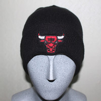 Chicago Bulls Knit Beanie Hat Black Color