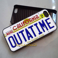 DeLorean Car Outatime License Plate Back To The Future iPhone 5C Case, iPhone 5S/5 Case, iPhone 4S/4 Case, Samsung Galaxy S3/S4