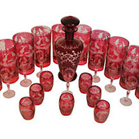 Ruby Red Bohemian Bar Set, 25 Pcs