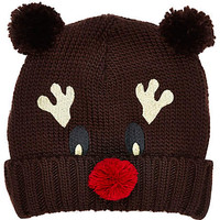 BROWN REINDEER BEANIE HAT