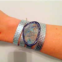 CYBER-SALE Chalcedony Rosette Druzy and Tanzanite crystal In sterling silver Slider Bracelet