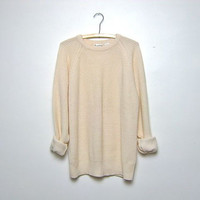 90s cream sweater. slouchy knit sweater. women's Medium