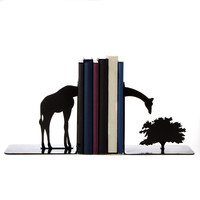 Grazing Giraffe Bookends