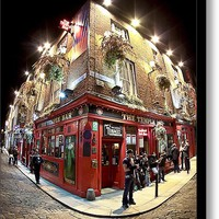 Bright Lights of Temple Bar in Dublin Ireland