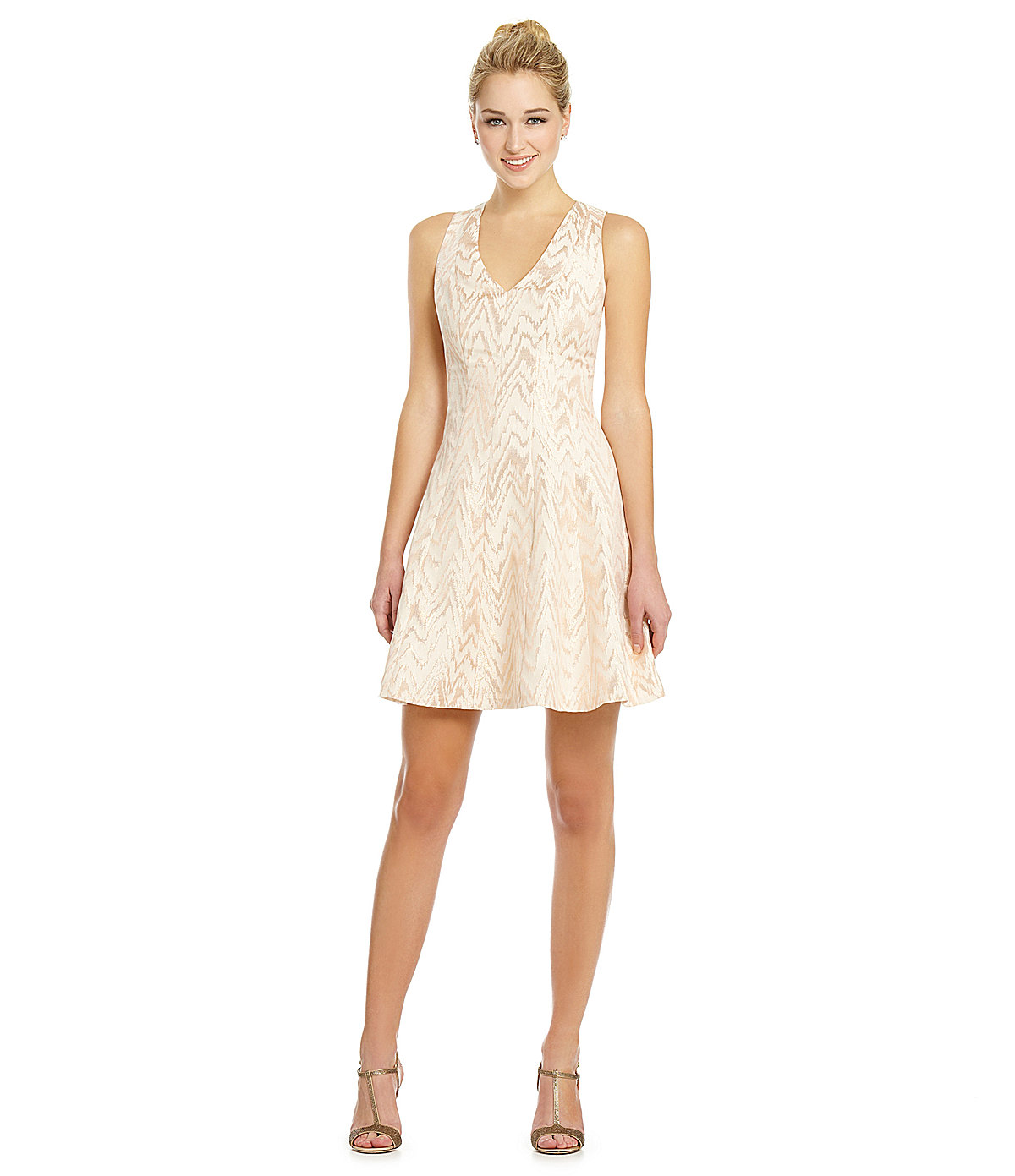 vince camuto chevron fit and flare dress from dillard s