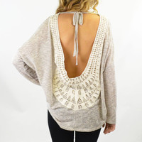 Sun Child Light Grey Open Back Crochet Top
