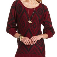 AZTEC HI-LOW PULLOVER SWEATER