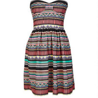Bright Stripe Strapless Dress