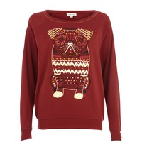 DARK RED AZTEC PUG DOLMAN TOP