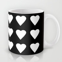 16 Hearts White on Black Mug by Project M