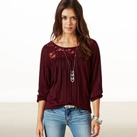 AEO Women's Lace Crinkle T-shirt