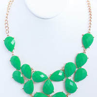 Mint Teardrop Bib Necklace Set