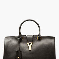 Black Leather Ligne Y Cabas Tote