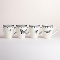 LETTERPRESS MUGS, SET OF 4