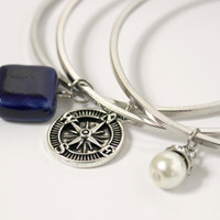 Royal Blue, White, and Silver Compass Bangle Beaded Bracelet Set - Trendy Handmade Jewelry - Stackable Bracelets - Ready to Ship