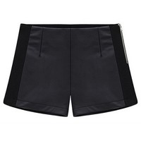 Black PU Paneled Shorts