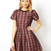 ASOS Skater Dress In Bonded Check
