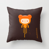 melting moment stare bear Throw Pillow by simonfoo