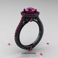 Caravaggio 14K Black Gold 1.0 Ct Pink Sapphire Engagement Ring, Wedding Ring R621-14KBGBPS