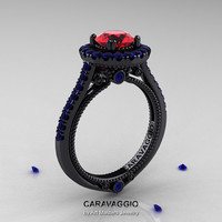 Caravaggio 14K Black Gold 1.0 Ct Ruby Blue Sapphire Engagement Ring, Wedding Ring R621-14KBGBSR