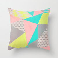 Geometric Pastel Throw Pillow by Louise Machado