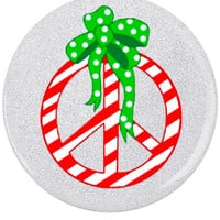 Button Pin Holiday Stripe Peace Glitter: Pin Back Button Peace
