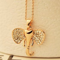 Little Golden Elephant Rhinestone Fashion Necklace