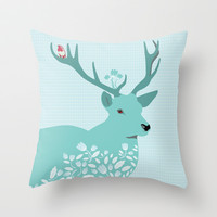 Blue Deer Throw Pillow by Ornaart