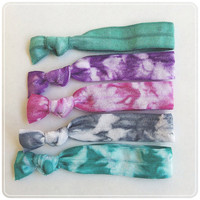 Cute Hair Ties (Marble Stones Set) pretty purple magenta grey aqua tie dye french ties