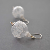 Snowball Earrings, Clear Hollow Glass Earrings,