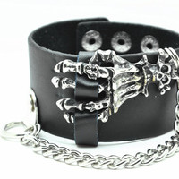 Black Real Leather Bracelet with Skull Rivet Women Jewelry Bangle Fashion Bracelet, Men bracelet C061