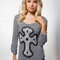 STRIPED CROSS GRAPHIC TEE