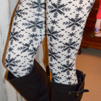 Snowball Fight Leggings: Black/White